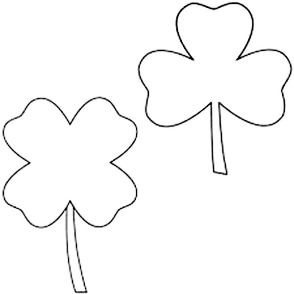 Couple of Four-Leaf Clover Coloring Page
