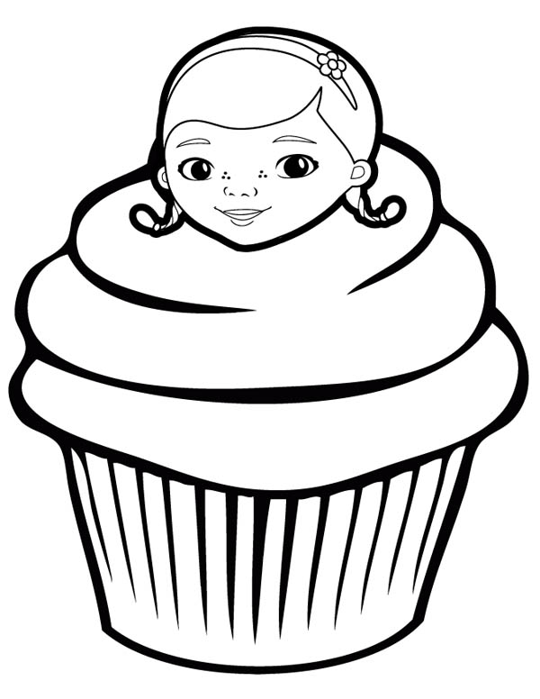 Cupcake with Doc McStuffins as Topping Coloring Page