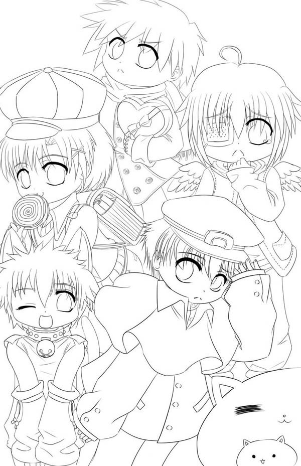 Cute Boys Chibi Drawing Coloring Page