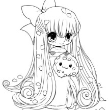 Cute Cookie Chibi Drawing Coloring Page