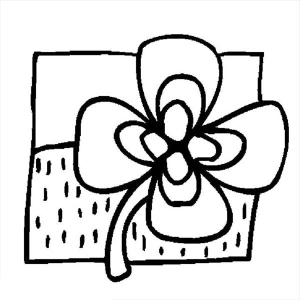 Cute Drawing of Four-Leaf Clover Coloring Page
