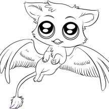 Cute Gryphon Chibi Drawing Coloring Page