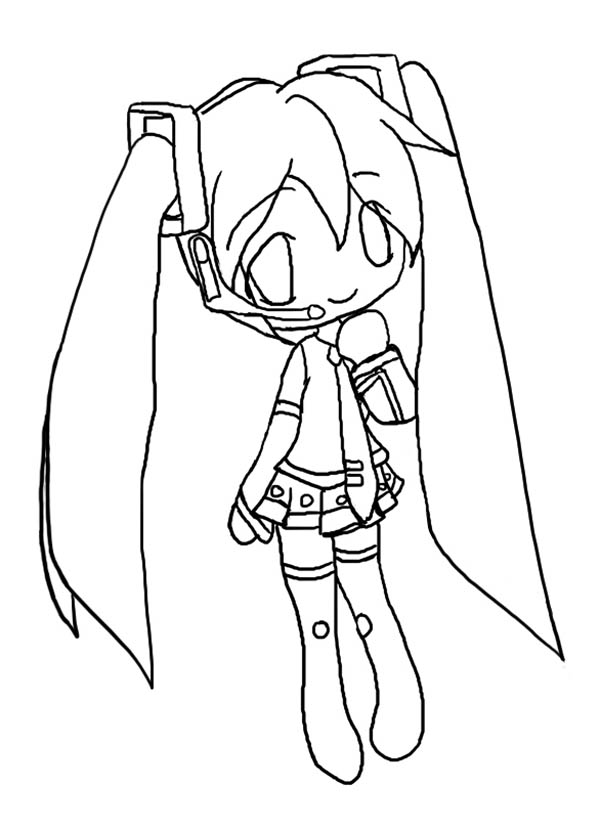Cute Hatsune Miku Chibi Drawing Coloring Page