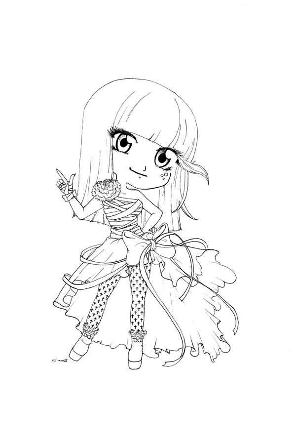 Cute Lady Gaga Chibi Drawing Coloring Page