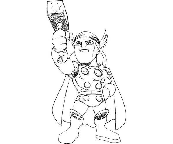 Cute Little Thor Coloring Page