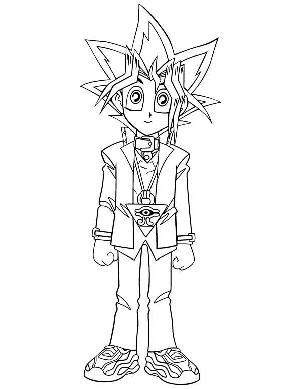 Cute Little Yugi Muto in Yu Gi Oh Coloring Page