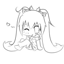 Cute Miku Chibi Picture Coloring Page
