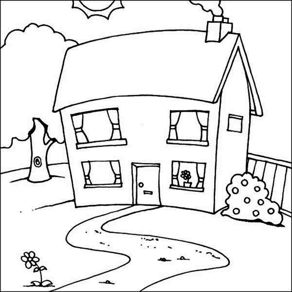 Cute Picture of Houses Coloring Page