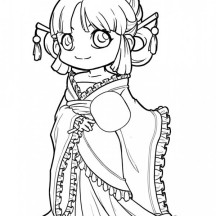 Cute Princess Chibi Drawing Coloring Page
