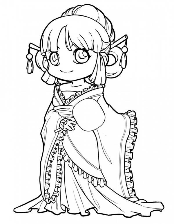 Cute Princess Chibi Drawing Coloring Page
