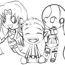 Cute Teen Titan Chibi Drawing Coloring Page