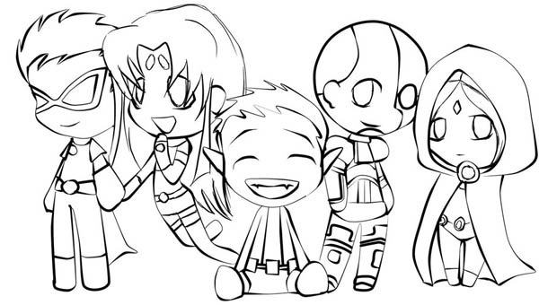 Cute Teen Titan Chibi Drawing Coloring Page