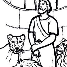 Daniel Looking up to Cage Door in Daniel and the Lions Den Coloring Page