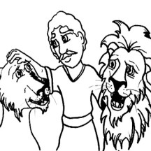 Daniel Pet the Lions in Daniel and the Lions Den Coloring Page