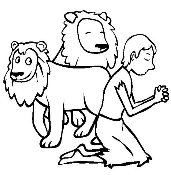 Daniel Pray in Daniel and the Lions Den Coloring Page