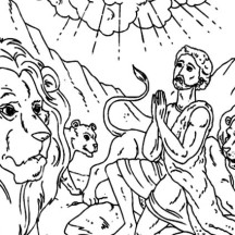Daniel Praying in Daniel and the Lions Den Coloring Page