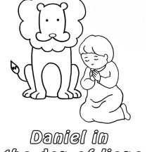 Daniel Prostrated in Front of God in Daniel and the Lions Den Coloring Page
