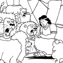 Daniel Thrown into Lions Den in Daniel and the Lions Den Coloring Page
