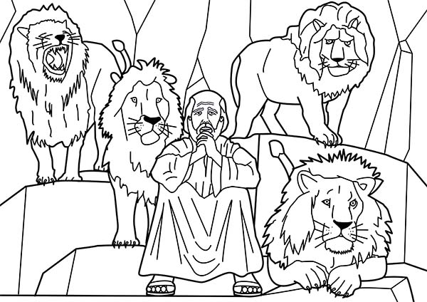 Daniel and Four Lions in Daniel and the Lions Den Coloring Page