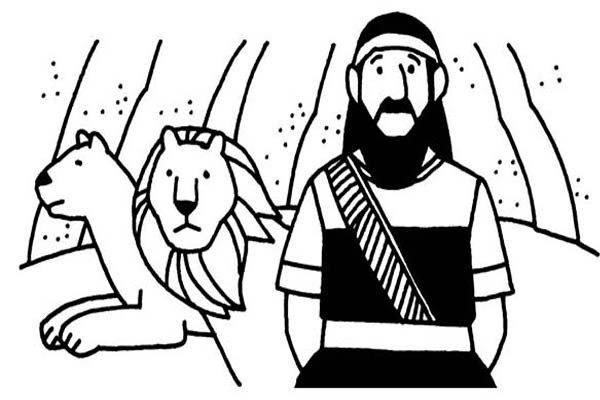 Daniel and Two Lions in Daniel and the Lions Den Coloring Page