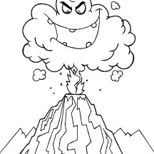 Deadly Hot Ash Cloud in Volcano Eruption Coloring Page