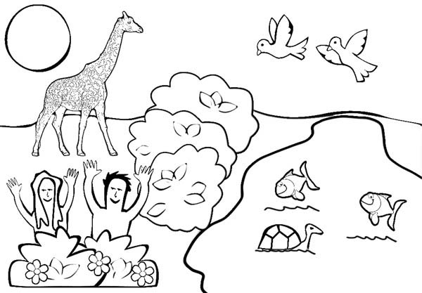 Depiction of Garden of Eden Coloring Page