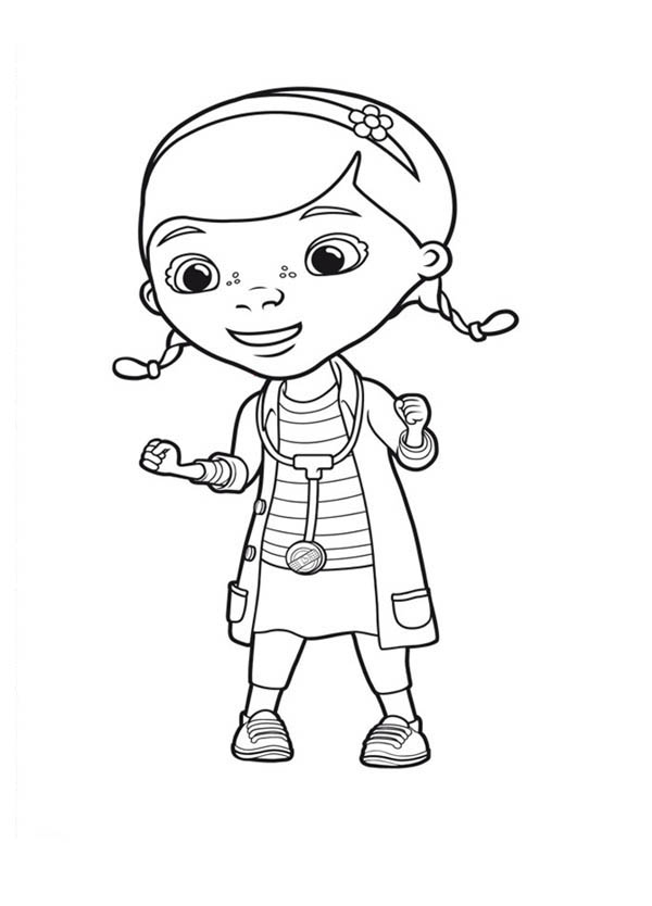 Doc McStuffins Eager to Help Her Friend in Doc McStuffins Coloring Page