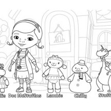 Doc McStuffins and Friends in Doc McStuffins Coloring Page