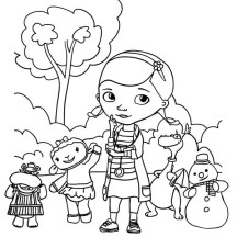 Doc McStuffins and Friends in the Park in Doc McStuffins Coloring Page
