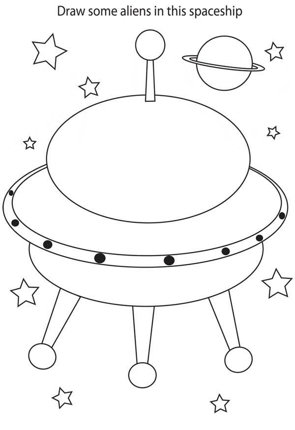 Drawing Alien in Spaceship Coloring Page - NetArt