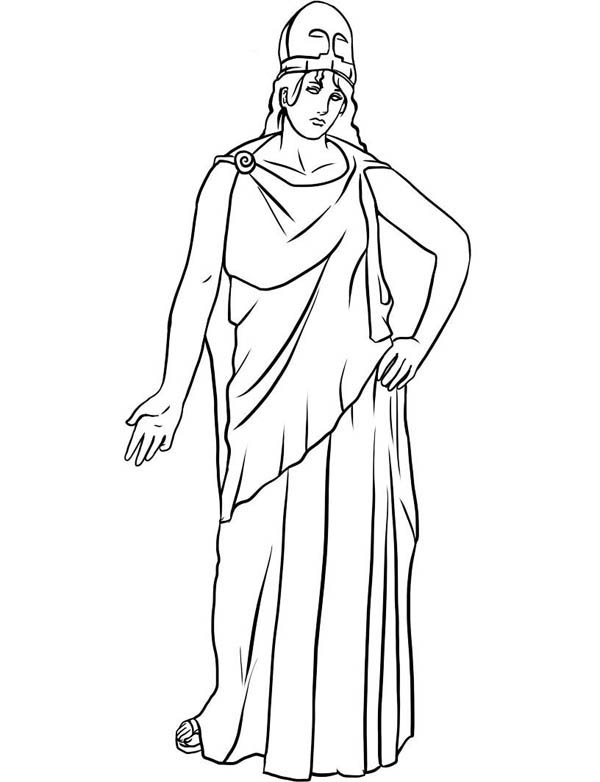 Drawing of Athena ffrom Greek Gods and Goddesses Coloring Page