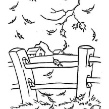 Fall Leaf Near Yard Fence Coloring Page