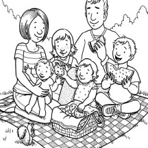 Family Holiday Picnic Coloring Page