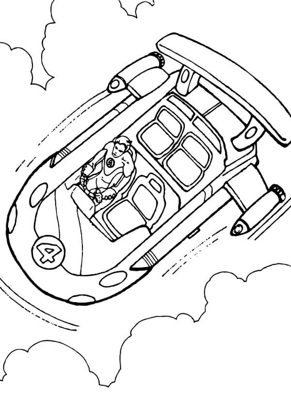 Fantastic Four Spaceship Coloring Page