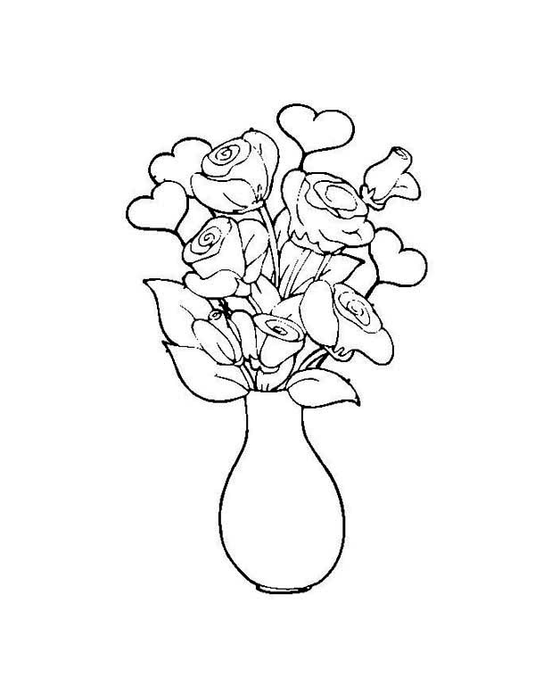 Flower in the Vase Coloring Page