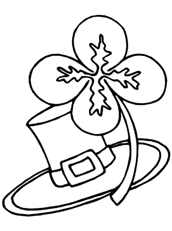 Four-Leaf Clover and Traditional Irish Hat Coloring Page