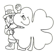 Four-Leaf Clover and an Irish Guy Coloring Page