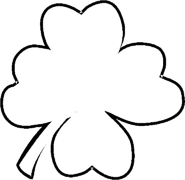 Four-Leaf Clover in Simple Pattern Coloring Page