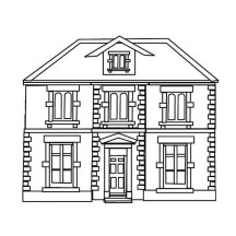 Four Window House in Houses Coloring Page