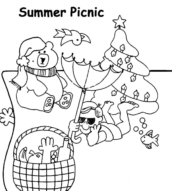 Fun Summer Picnic Coloring Page