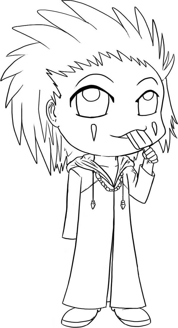 Funny Axel Chibi Drawing Coloring Page