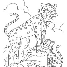 Funny Cheetah and His Baby Drawing Coloring Page