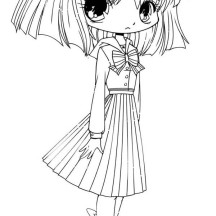 Funny Hotaru Chibi Drawing Coloring Page
