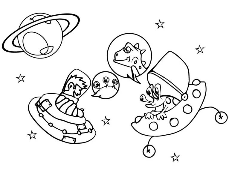 Galaxy Gathering with Spaceship Coloring Page