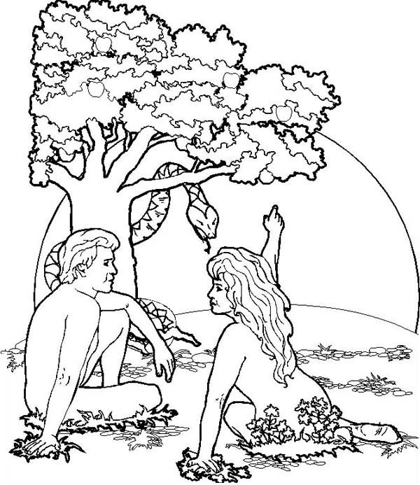 Garden of Eden Where Adam and Eve was Live Coloring Page