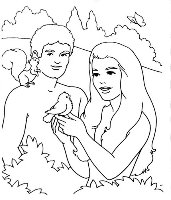 Original Sin of Mankind in Garden of Eden Coloring Page - NetArt | 701x600