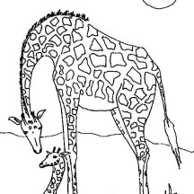 Giraffe in the Meadow Coloring Page
