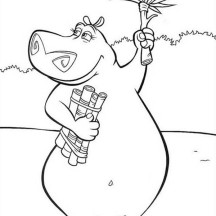 Gloria the Hippo in Madagascar Coloring Page