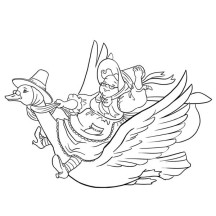 Grandma Riding a Goose Coloring Page