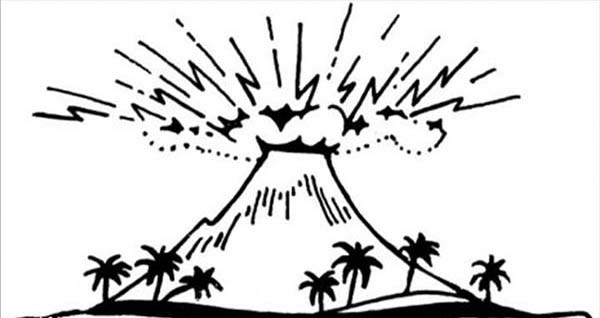 Great Volcano Drawing Coloring Page